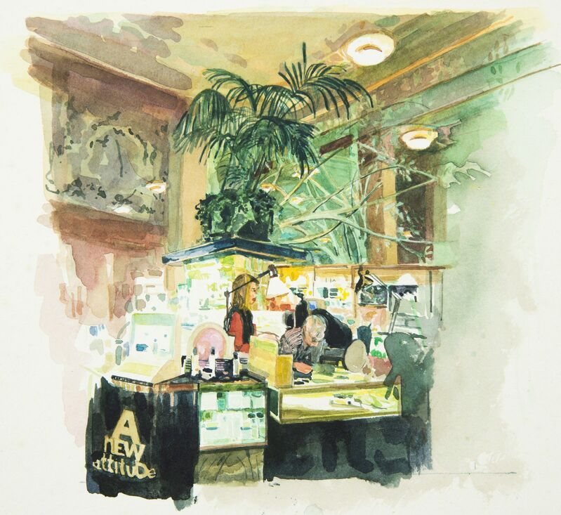 Margaret Harrison, 'I. Magnin, San Francisco (1)', 1993, Painting, Watercolor on paper, Ronald Feldman Gallery