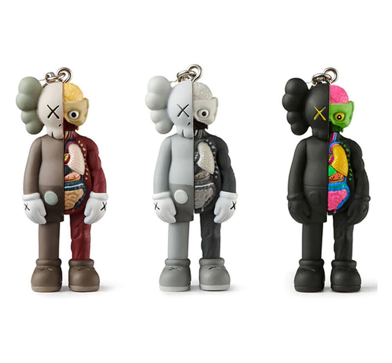 KAWS, ''Tokyo First: Companion (Flayed)' Key Holder Set', 2021, Ephemera or Merchandise, Collectible painted vinyl key holder set (black, brown and grey)., Signari Gallery