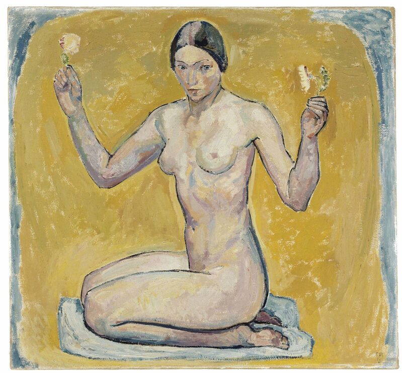 Cuno Amiet, 'Kneeling Nude on Yellow Ground', 1913, Painting, Oil on canvas, Museo Reina Sofía