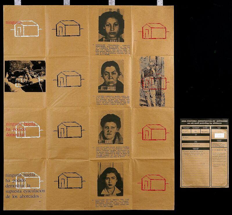 Eugenio Dittborn, 'No Tracks (Airmail Painting No. 13) [Sin rastros (Pintura aeropostale num. 13)]', 1983, Print, Photo screenprint, Blanton Museum of Art