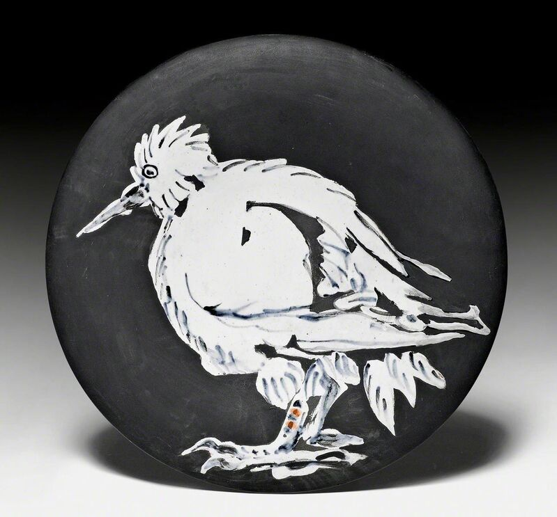 Pablo Picasso, 'Oiseau no. 76', 1963, Design/Decorative Art, Plate. Ceramic painted in white, black and red. Decorated with engobes and partly brushed., Koller Auctions