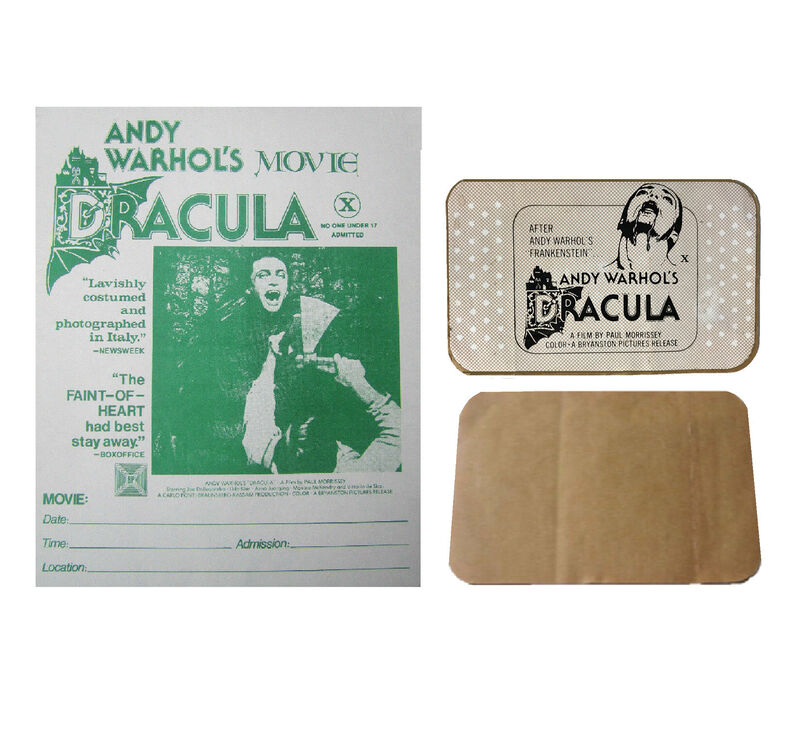 "Andy Warhol, '2 PIECE LOT- ""Andy Warhol's DRACULA"", 1974, BANDAGE Film Promotion Giveaway, & Handbill RARE', 1974, Ephemera or Merchandise, Print on bandage, VINCE fine arts/ephemera"