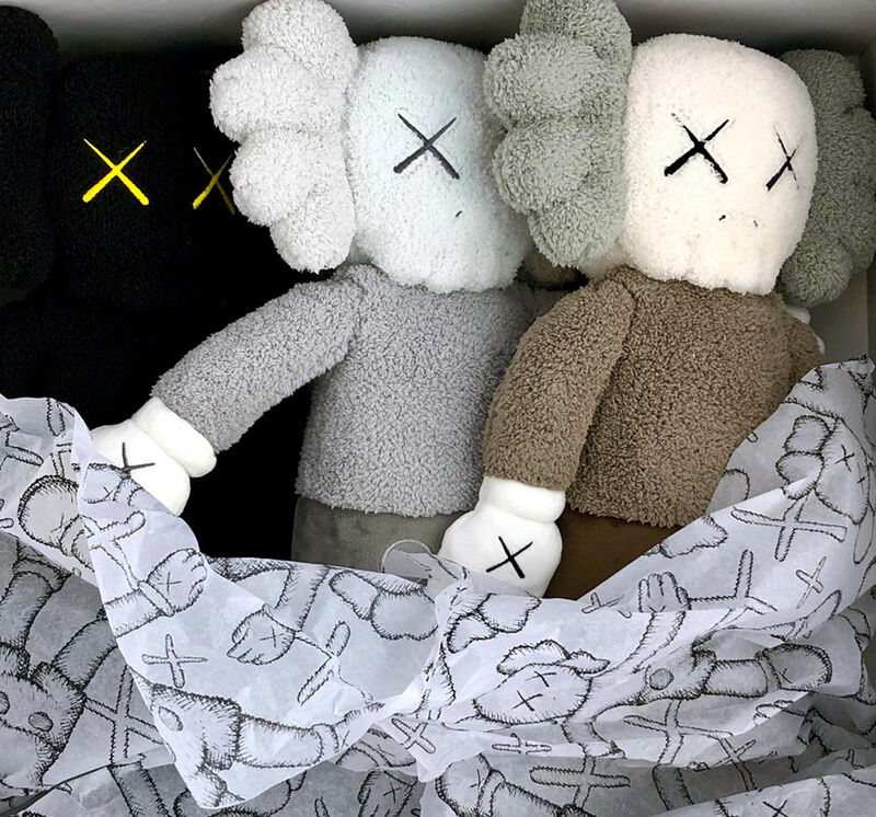 KAWS, 'KAWS Plush Holiday Companions: complete set of 3', 2019, Sculpture, Plush figurines, Lot 180