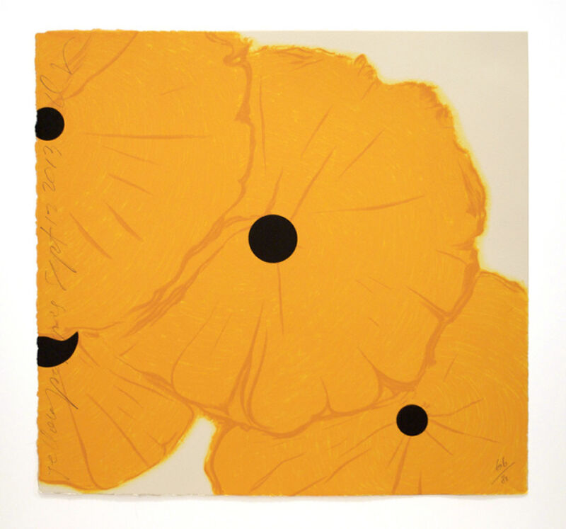 Donald Sultan, 'Yellow Poppies Sept. 12, 2013', 2013, Print, 8 color screenprint with flocking, ARC Fine Art LLC