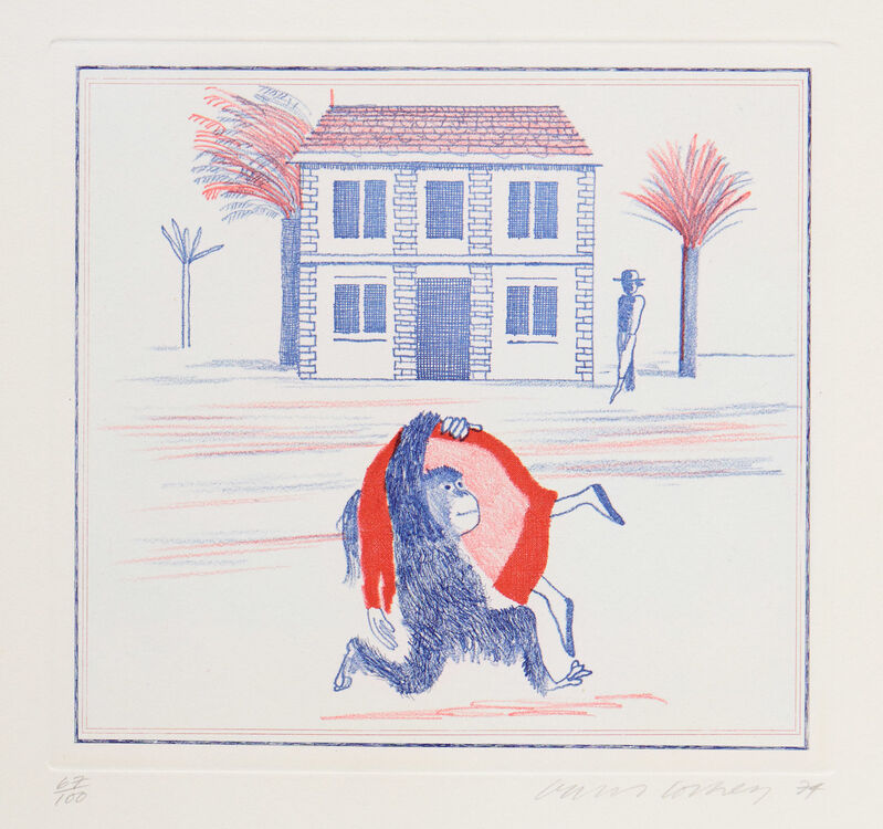 David Hockney, 'Geography Book', 1974, Print, Original etching and soft-ground etching in colour on Arches wove paper, ModernPrints.co.uk