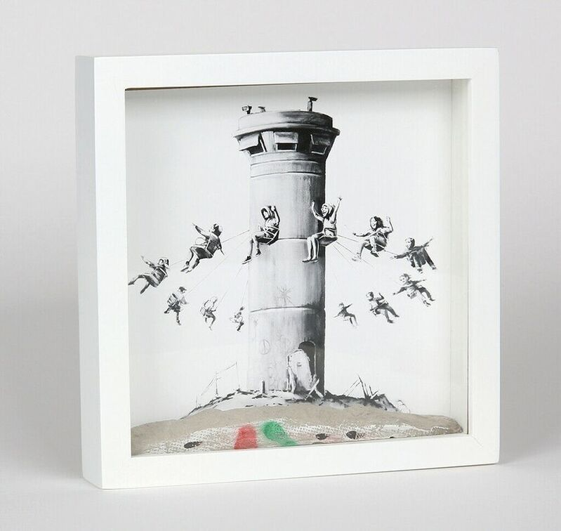 Banksy, 'Walled off Hotel', 2017, Mixed Media, Offset lithograph with a hand-painted piece of the border wall between Bethlehem and Palestine in a box frame, ARTEDIO