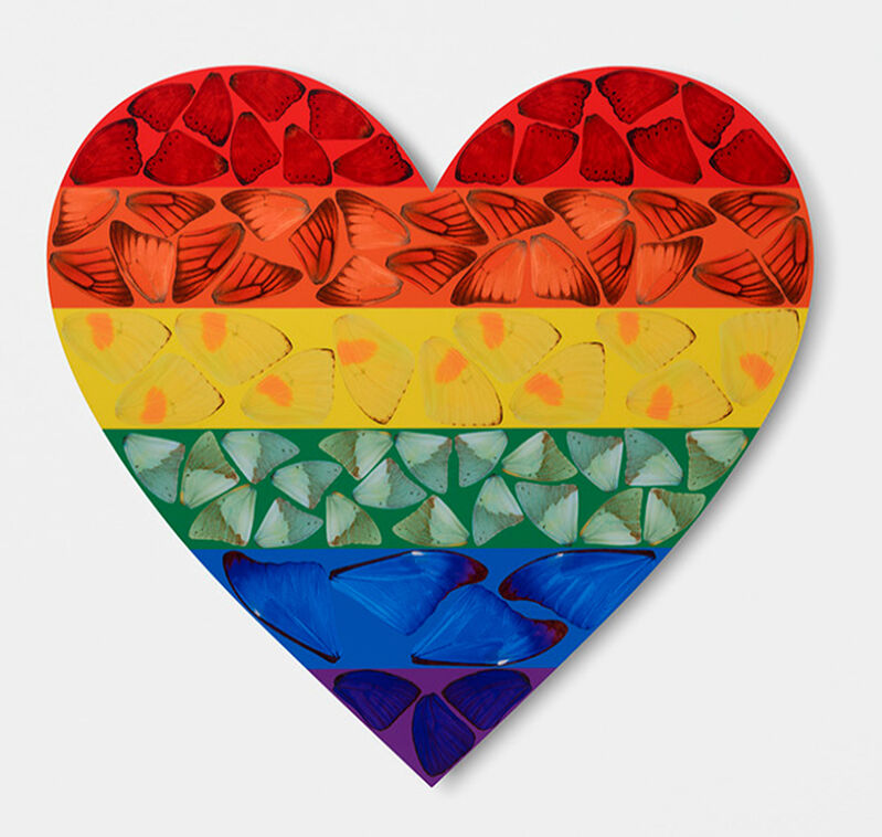Damien Hirst, 'H7-4 Rainbow Butterfly Heart (Small)', 2020, Print, Laminated giclee print on aluminium composite panel, EHC Fine Art Gallery Auction