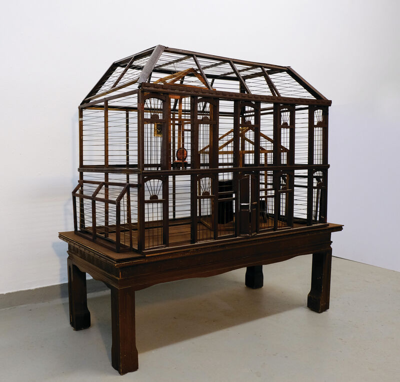 Artemis Potamianou, 'Which side are you on? Home', 2018, Sculpture, Wood and metal birdcage and appropriated object(s), IFAC Arts