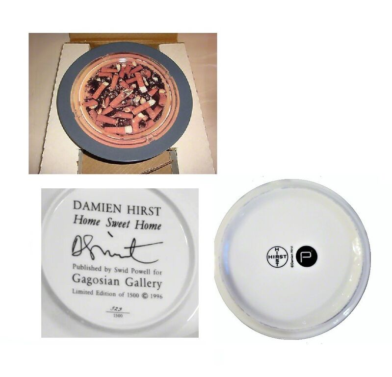 "Damien Hirst, '3- PIECE SET, ""Home Sweet Home"" / ""Pharmacy Restaurant Ashtray"" (glass) / ""Pharmacy Restaurant Ashtray"" (porcelain)', 1996-1998, Sculpture, Porcelain, glass, VINCE fine arts/ephemera"