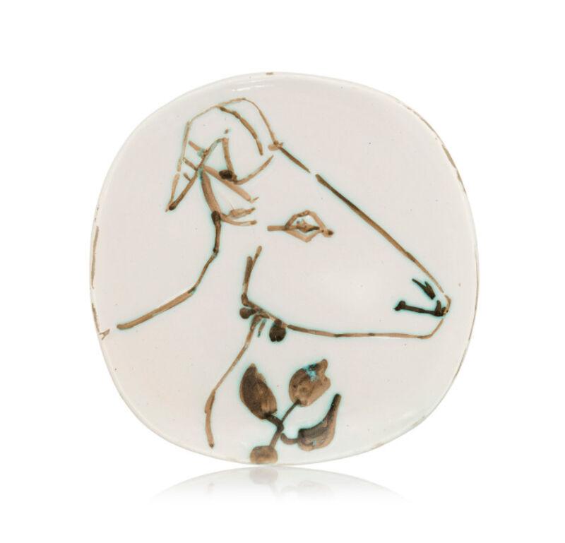 Pablo Picasso, 'Madoura Ceramic Plate -'Tête de Chèvre de Profil' Ramié 106', 1950-1959, Sculpture, Ceramic,Earthenware, Hirth Fine Art