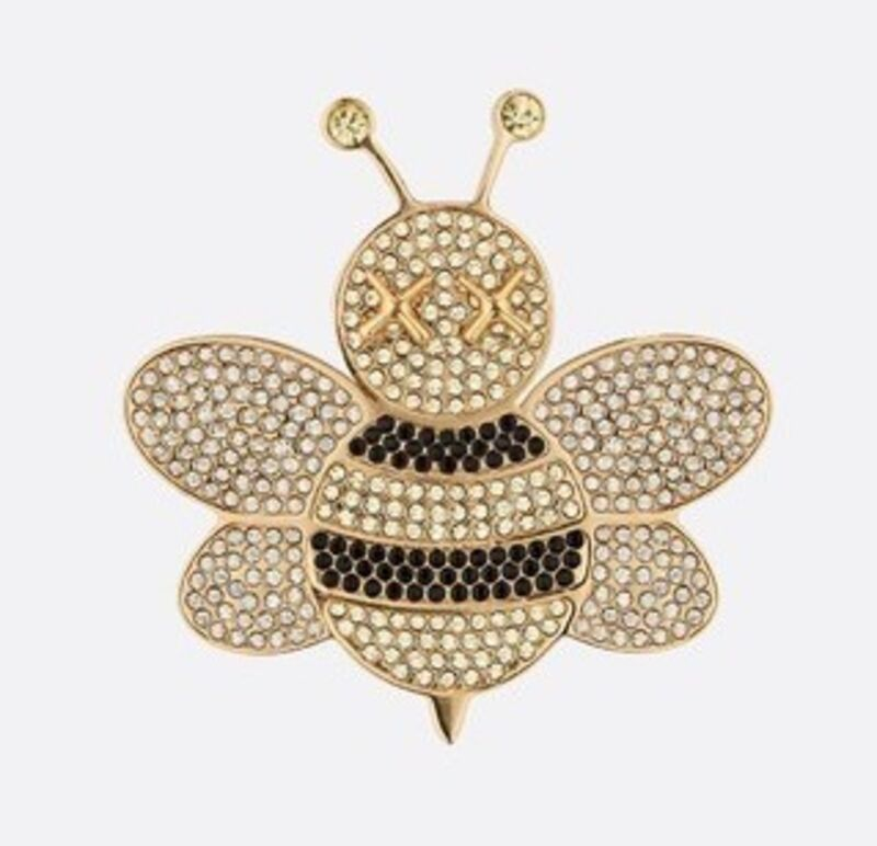 KAWS, 'Bee Pin's', 2018, Fashion Design and Wearable Art, Gold plated pin's Bees and yellow, white and black crystals, Dope! Gallery