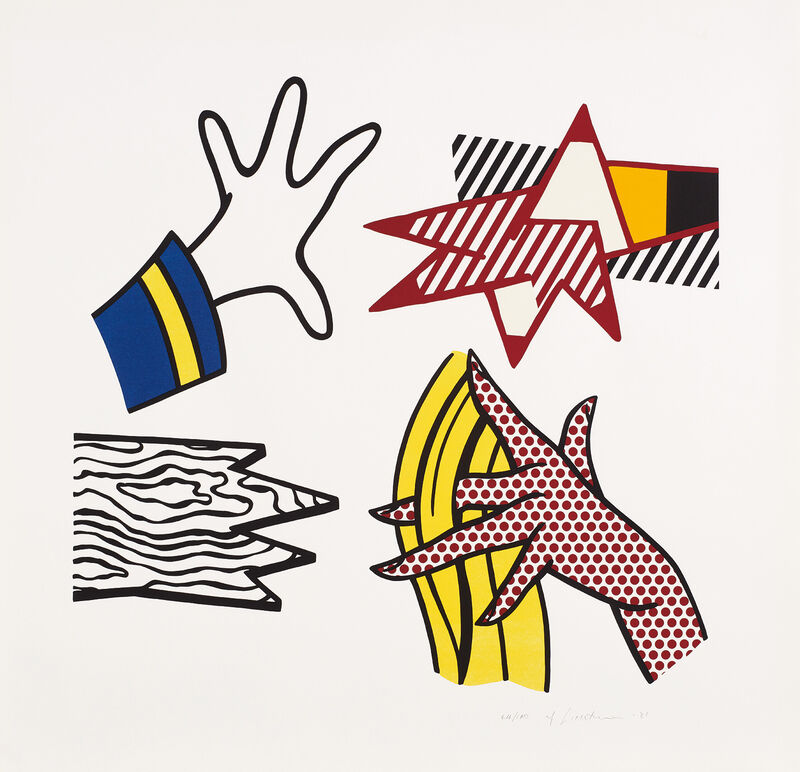 Roy Lichtenstein, 'Study of Hands', 1981, Print, Lithograph and screenprint in colors, on Rives BFK paper, with full margins., Phillips