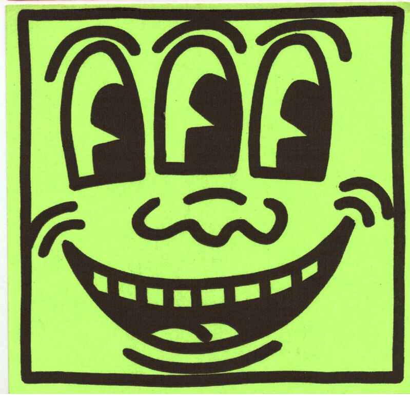 Keith Haring, 'Original Keith Haring Three Eyed Smiling Face stickers (Keith Haring Pop Shop)', ca. 1982, Ephemera or Merchandise, Off-set lithograph on square sticker, Lot 180
