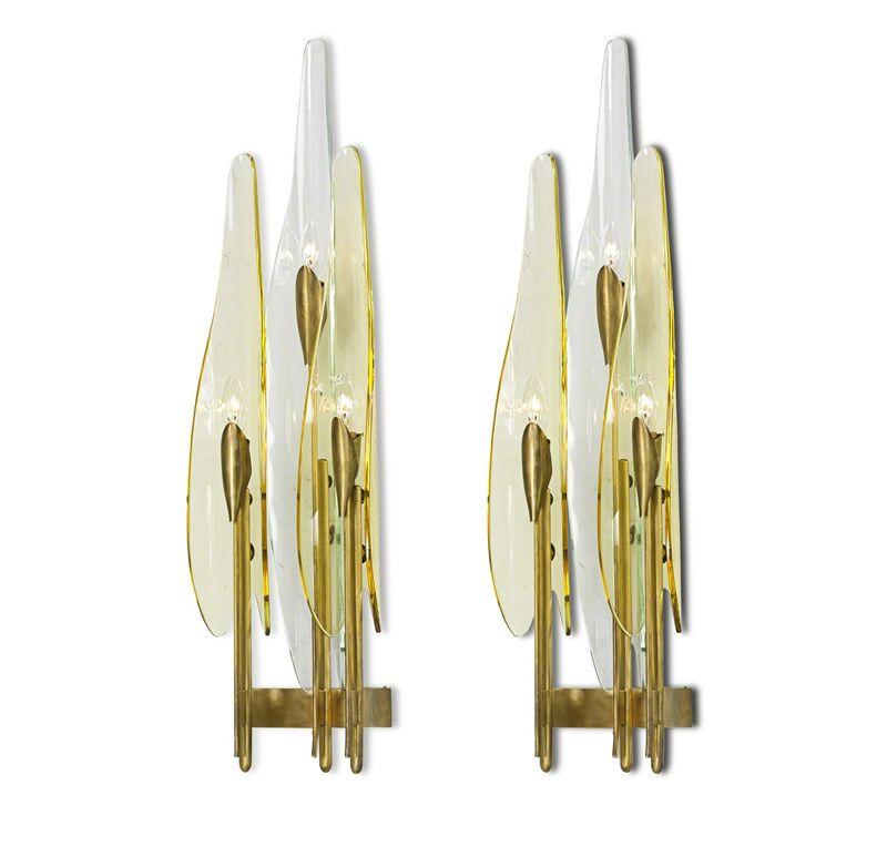 Max Ingrand, 'Pair of Dahlia sconces, Italy', 1950s, Design/Decorative Art, Brass, amber and clear glass, three sockets each, Rago/Wright