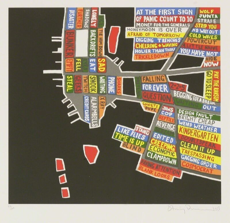 Stanley Donwood, 'BAGHDAD; MANHATTEN', 2009, Print, Two screenprints in colours, Sworders