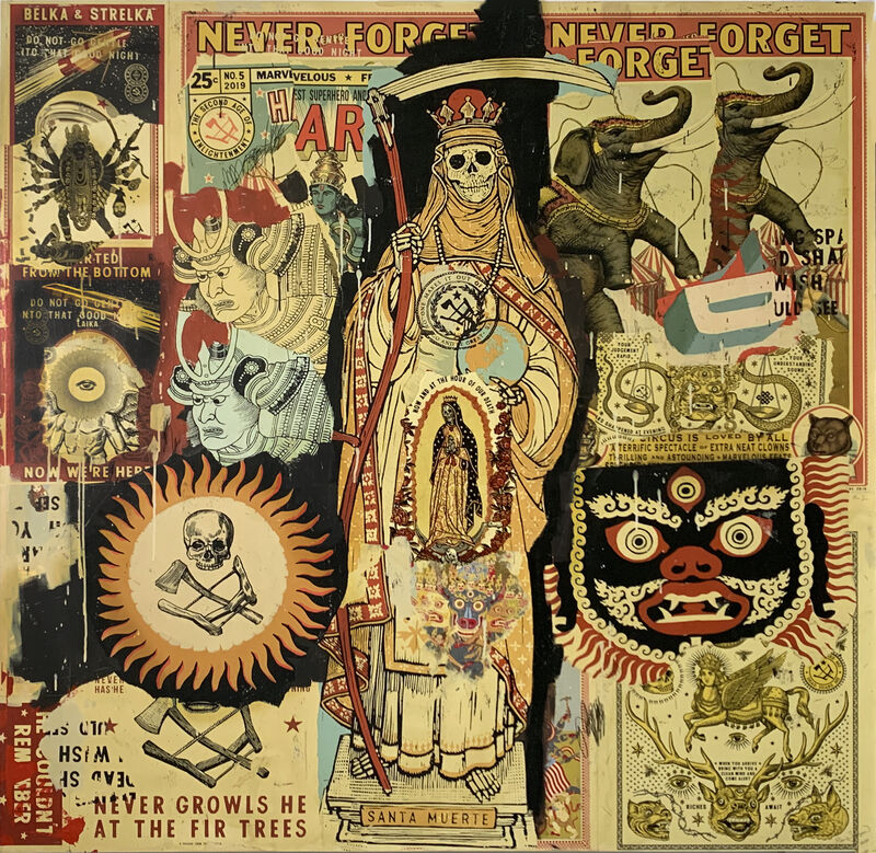 Ravi Zupa, 'NO ONE MAKES IT OUT OF HERE ALIVE', 2020, Painting, Acrylic paint, acrylic ink, India ink, color pencil, graphite, relief print, and screen print on paper mounted to wood, MAIA Contemporary