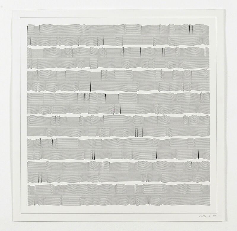 Manfred Mohr, 'P-052-c (Quark Lines)', 1970, Drawing, Collage or other Work on Paper, Plotter drawing ink on paper, bitforms gallery