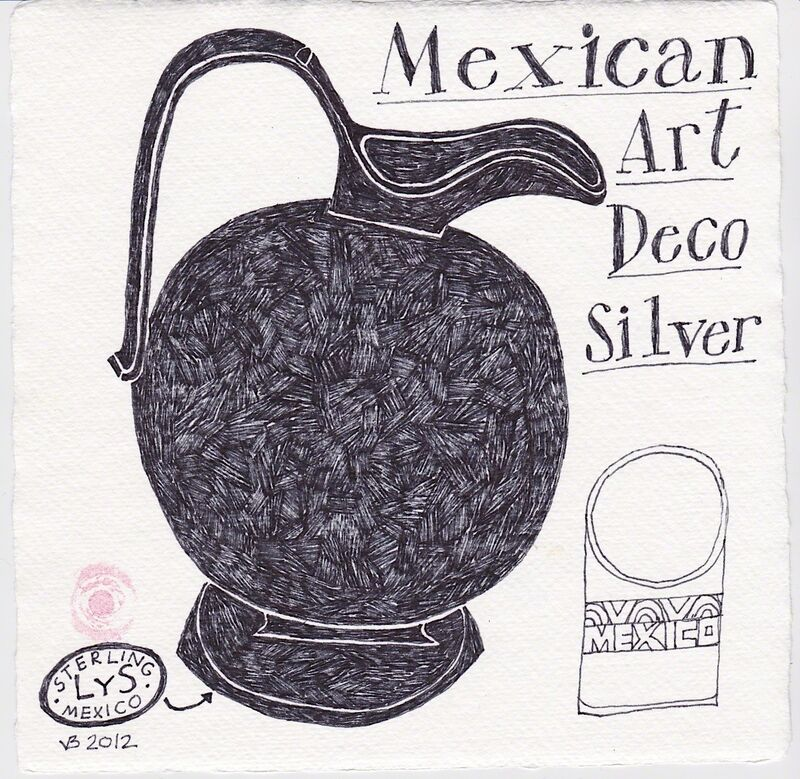 Victoria Behm, 'Mexican Art Deco Silver', 2012, Drawing, Collage or other Work on Paper, Ink on paper, 440 Gallery