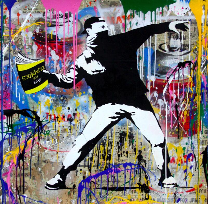 Mr. Brainwash, 'Banksy Thrower', 2018, Painting, Mixed media on paper, Eternity Gallery