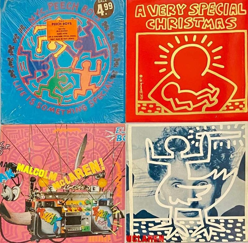 Keith Haring, '1980s Keith Haring Record Art (Set of 4 works)', 1982-1987, Design/Decorative Art, Offset lithograph on 4 individual record cover albums, Lot 180