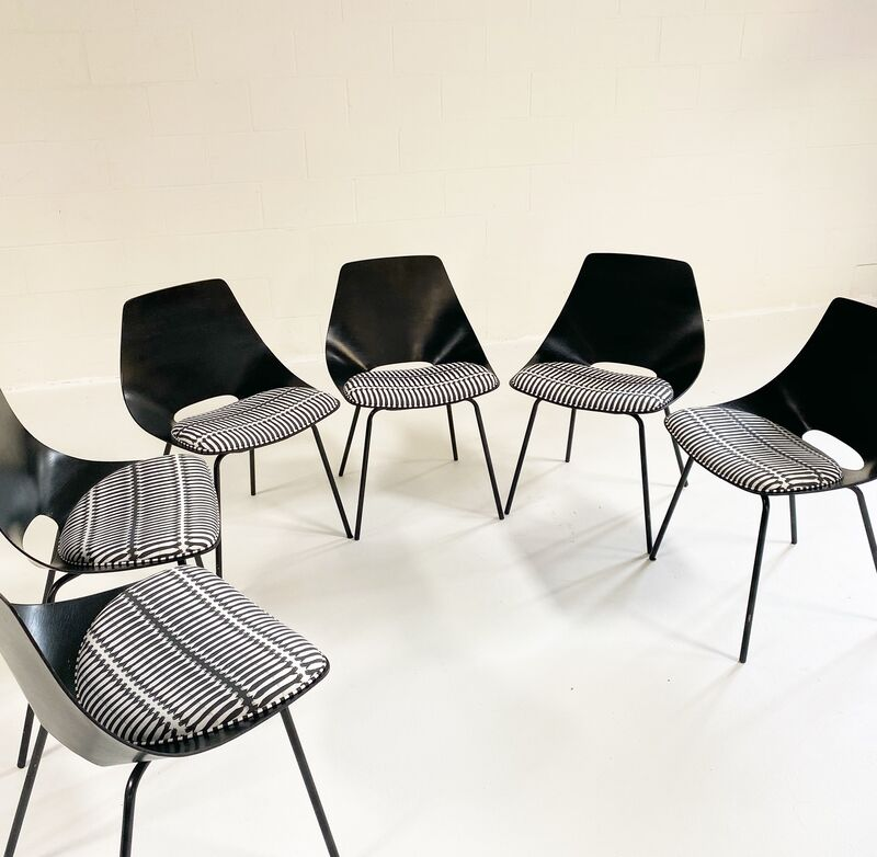 """Pierre Guariche, 'Tonneau Dining Chairs in Stevie Howell """"Reach"""" Fabric, set of 6', ca. 1954, Design/Decorative Art, Lacquered plywood, Metal, Cotton Linen Fabric, Forsyth"""