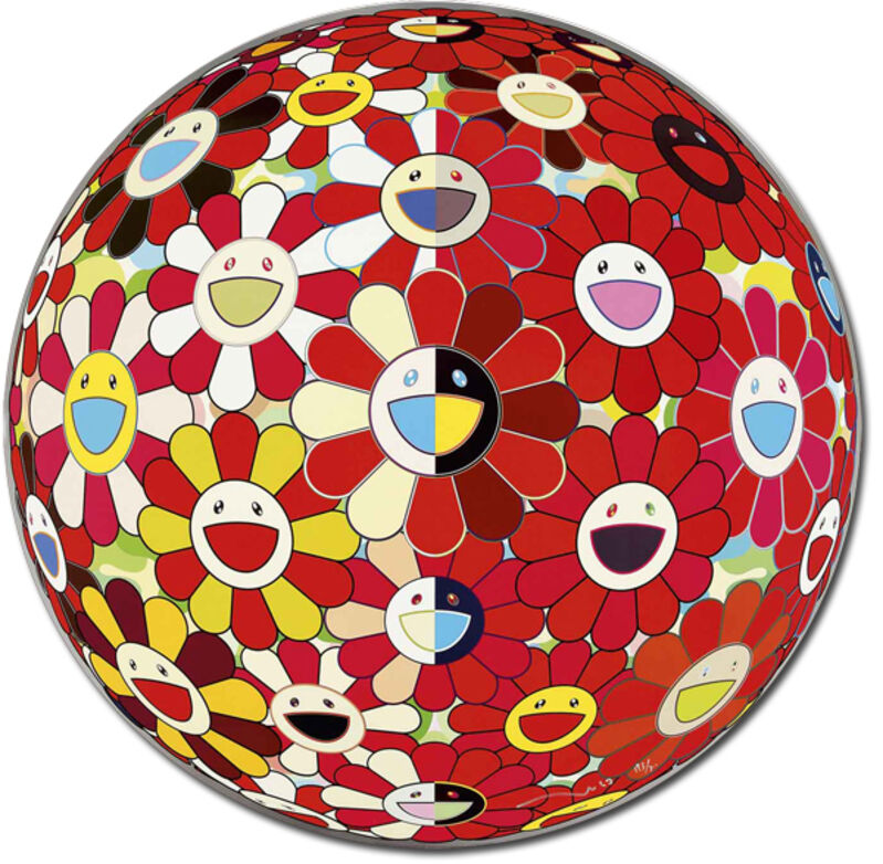 Takashi Murakami, 'Flowerball Red (3d) The Magic Flute', 2010, Print, Offset print, cold stamp and high gloss varnishing. Diasec mount., Gallery Delaive