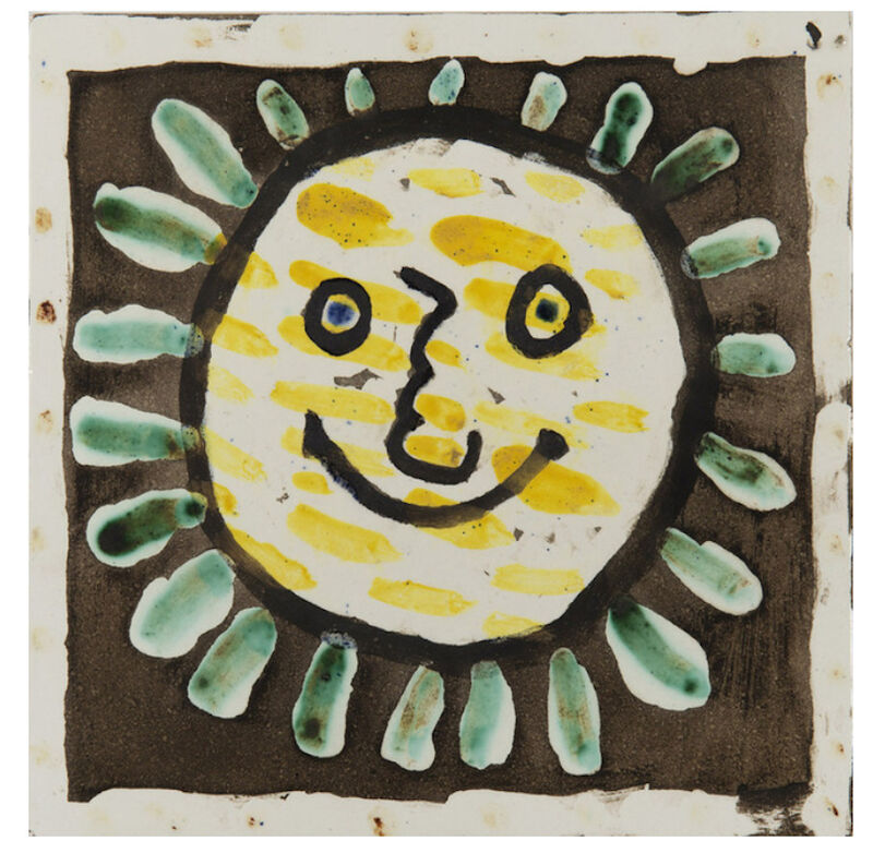 Pablo Picasso, 'Visage Solaire', 1956, Sculpture, White earthenware tile, painted and partially glazed ceramic, BAILLY GALLERY