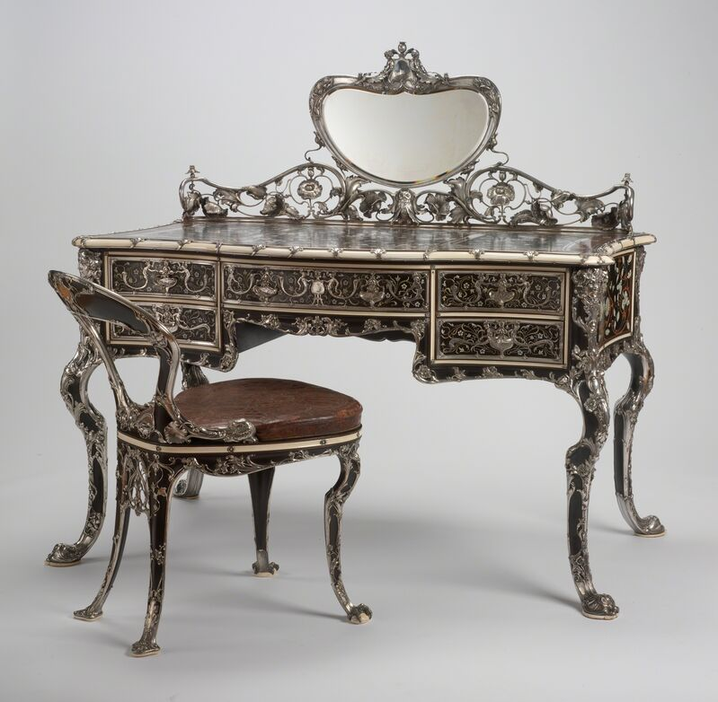 Gorham Manufacturing Company, 'Lady's Writing Table and Chair', 1903, Design/Decorative Art, Ebony, mahogany, boxwood, redwood, thuya wood, ivory, mother-of-pearl, silver, mirrored glass, and gilded tooled leather, RISD Museum