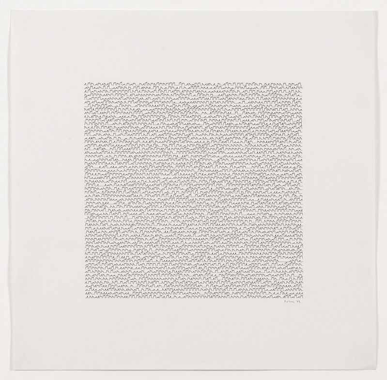 Manfred Mohr, 'P-122d', 1972, Drawing, Collage or other Work on Paper, Plotter drawing ink on paper, bitforms gallery
