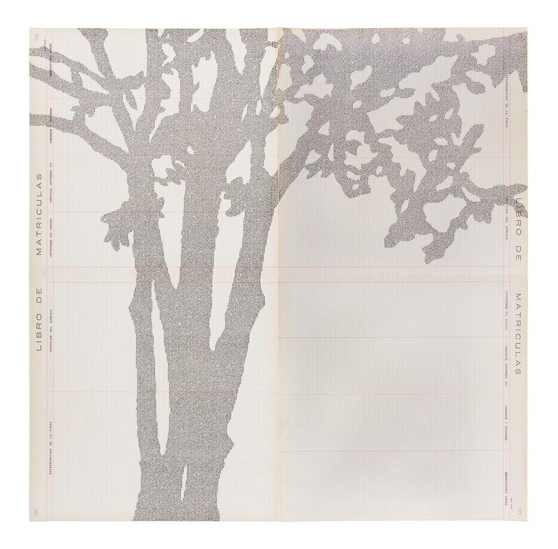 Johanna Calle, 'Nispero (Árbol)', 2016, Drawing, Collage or other Work on Paper, Tyographie on vintage notorial paper, Bienvenu Steinberg & Partner