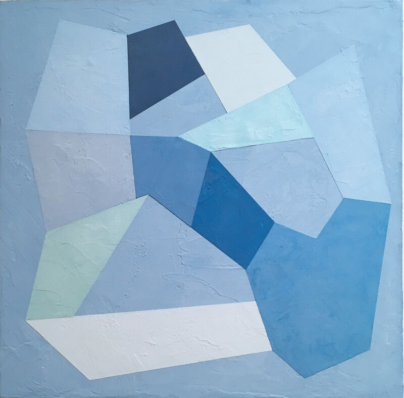 Kati Vilim, 'Blue Trace I', 2020, Painting, Plaster and acrylic on wood panel, Deep Space Gallery