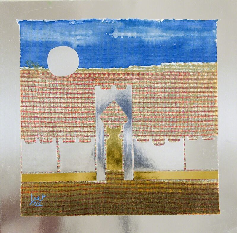 Anwar Jalal Shemza, 'City Gate', 1974, Drawing, Collage or other Work on Paper, Gold and silver foil, coloured inks on handmade Japanese paper, Jhaveri Contemporary