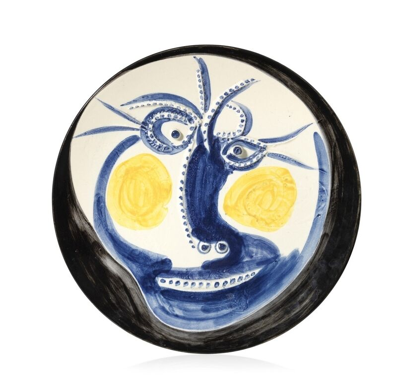 Pablo Picasso, 'Visage', 1960, Sculpture, White earthenware ceramic plate with coloured engobe and glaze, BAILLY GALLERY