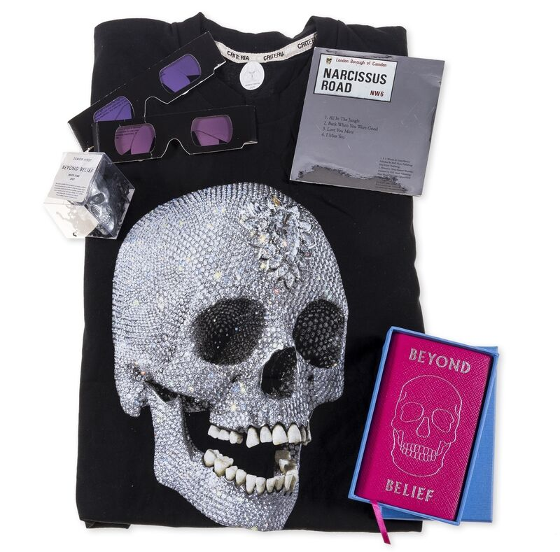 Damien Hirst, 'Beyond Belief VIP Gift Bag', 2007, Other, Paper gift bag containing a printed t-shirt, a foil stamped pink leather Smythson notebook, two pairs of 3D glasses, a silver foil covered white chocolate skull and a CD single, Forum Auctions