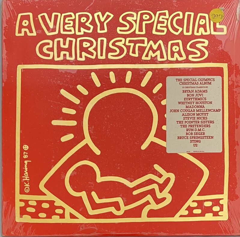 Keith Haring, 'Original 1980s Keith Haring Vinyl Record Art: Sealed 1st pressing (Keith Haring Christmas)', 1987, Design/Decorative Art, Offset lithograph on vinyl record album cover, Lot 180