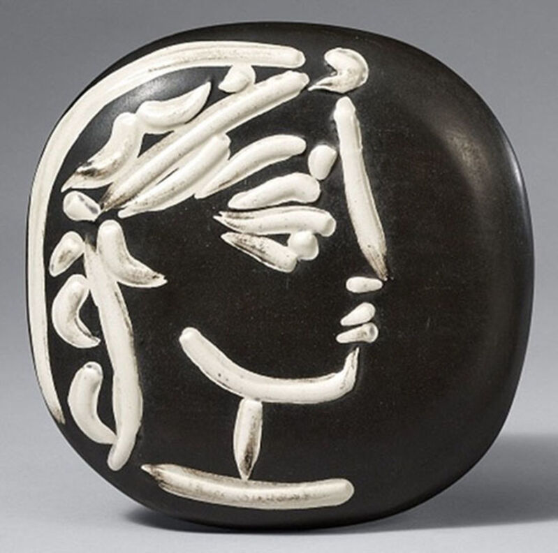 Pablo Picasso, 'Profil de Jacqueline (Jacqueline's Profile), 1956', 1956, Sculpture, Madoura convex wall plaque of white earthenware clay, engraving accentuated with glaze, black patinated ground (ivory, brown)., Masterworks Fine Art