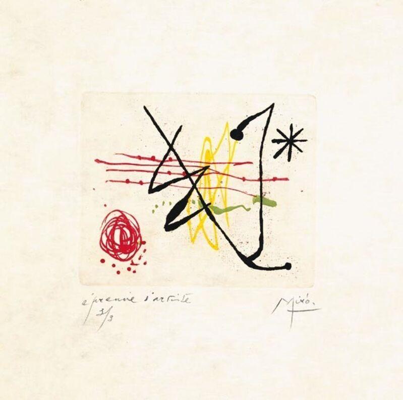Joan Miró, 'Suite La Bague D'Aurore - plate 8', 1957, Print, Etching, Galerie Maximillian