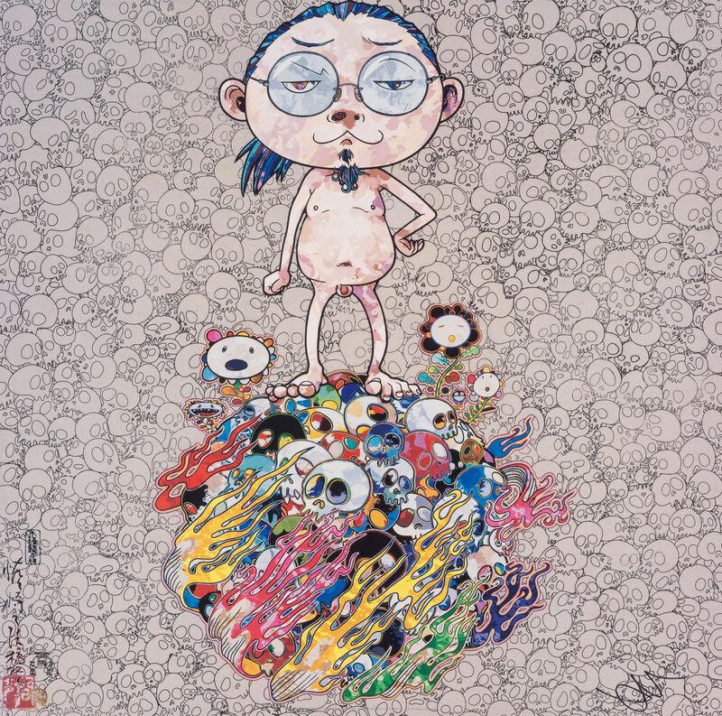 Takashi Murakami, 'Naked Me Contemplates Death (Memento Mori)', 2013, Print, Offset print with silver, Pinto Gallery
