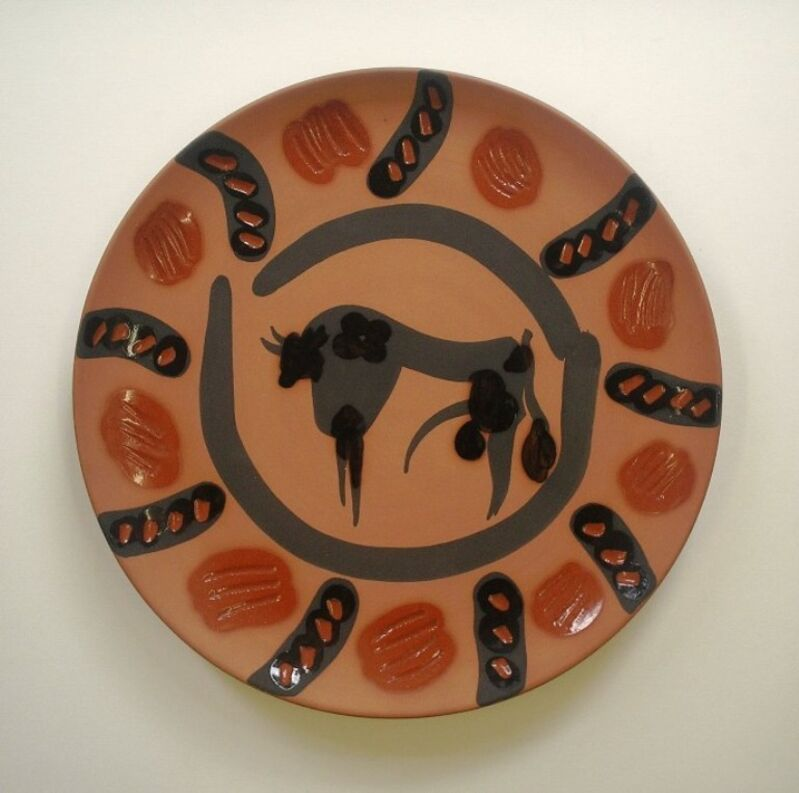 Pablo Picasso, 'Bull', 1957, Sculpture, Red earthenware clay plate, edition of 250, A Ramie 529, Nicholas Gallery