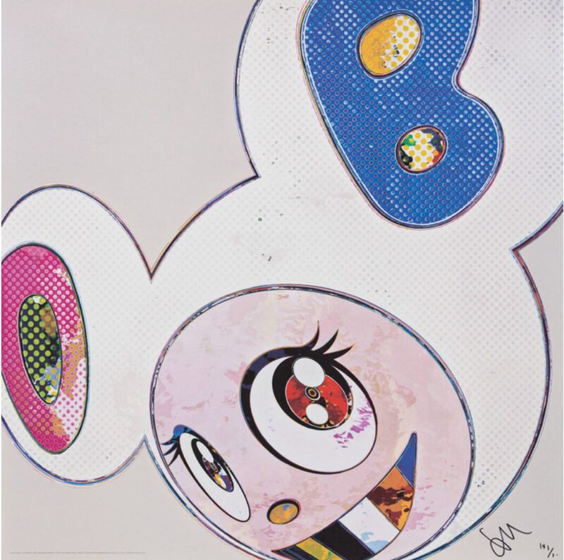 Takashi Murakami, 'AND THEN x6 (WHITE: THE SUPERFLAT METHOD, PINK, BLUE EARS)', 2013, Print, Offset print with silver, Marcel Katz Art