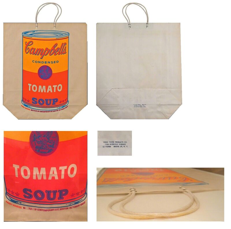 """Andy Warhol, '""""Campbell's Soup Bag"""",  1966, Exhibition at Institute of Contemporary Art Boston.', 1966, Ephemera or Merchandise, Screen Print on Paper, VINCE fine arts/ephemera"""