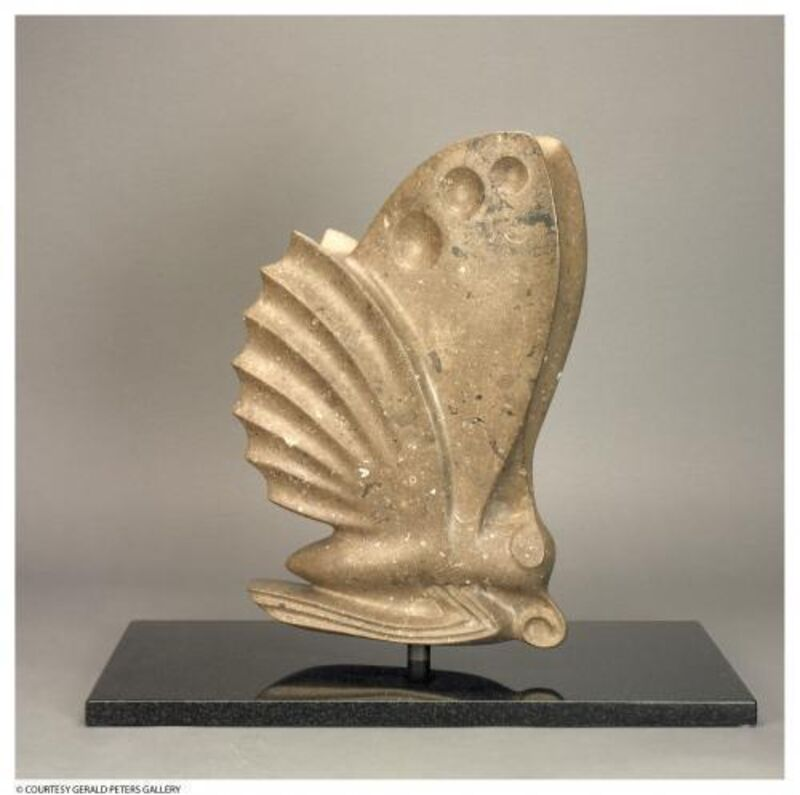 Les Perhacs, 'Flight Over Ancient Seas', 2011, Sculpture, Kansas limestone filled with fossils from the Paleozoic Period with a black granite base, Gerald Peters Gallery