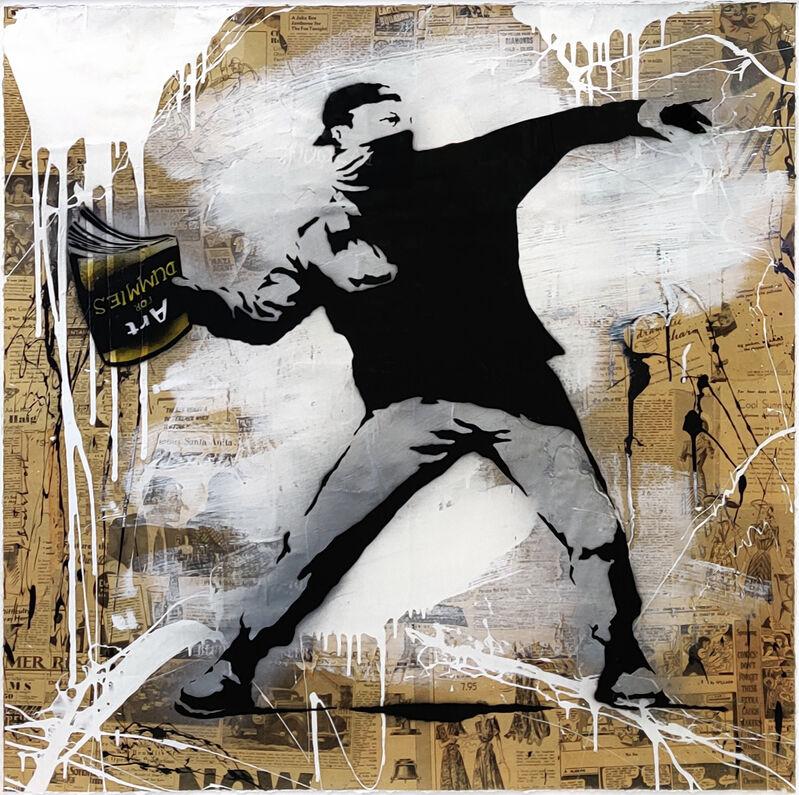 Mr. Brainwash, 'BANKSY THROWER', 2014, Painting, MIXED MEDIA ON PAPER, Gallery Art