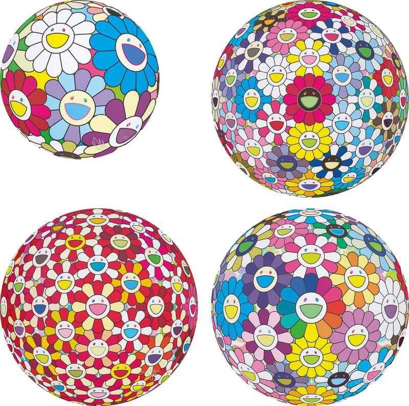 Takashi Murakami, 'Festival Flower Decoration; Space Show; Flowerball: Koi/Red-crowned Crane Vermilion; and Annular Solar Eclipse', Print, Four offset lithographs in colours, on smooth wove paper, the full sheets., Phillips