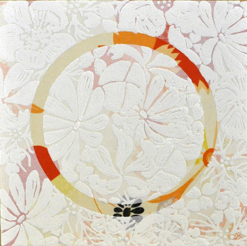 Shinji Ohmaki, 'Echoes - Crystallization (circle)', 2014, Painting, Correction fluid, Crystal powder, Fabric, Panel, Art Front Gallery
