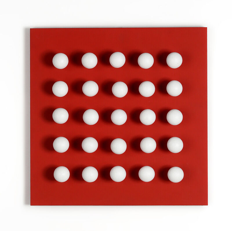 Antonio Asis, 'Boules tactiles blanches sur fond rouge', 1969 -2015, Painting, Mixed Media, Espace Meyer Zafra