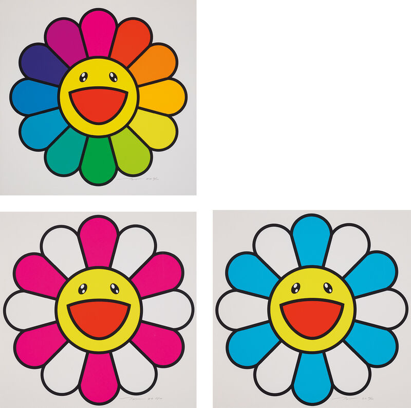 Takashi Murakami, 'Smile On, Rainbow Flower!; Pinky Chan; and Sea Breeze Chan', 2020, Print, Three screenprints in colours, on smooth wove paper, with full margins., Phillips