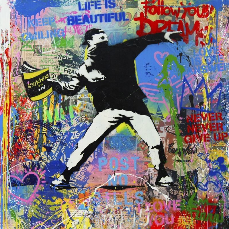 Mr. Brainwash, 'Banksy Thrower', 2020, Drawing, Collage or other Work on Paper, Silkscreen and mixed media on paper, Galerie Michael