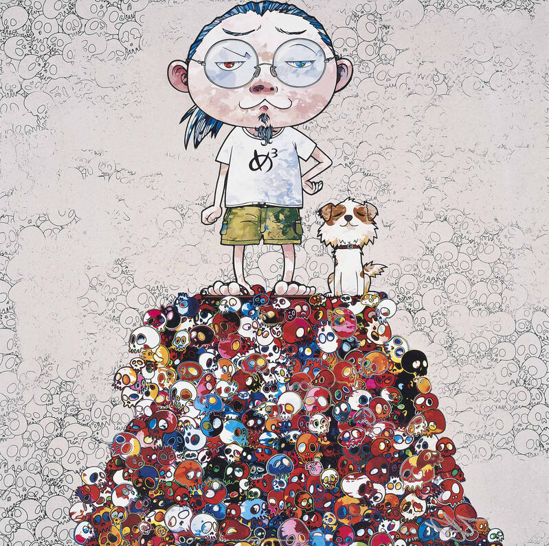 Takashi Murakami, 'Pom & Me: On the Red Mound of the Dead', 2013, Print, Offset print with silver, Pinto Gallery