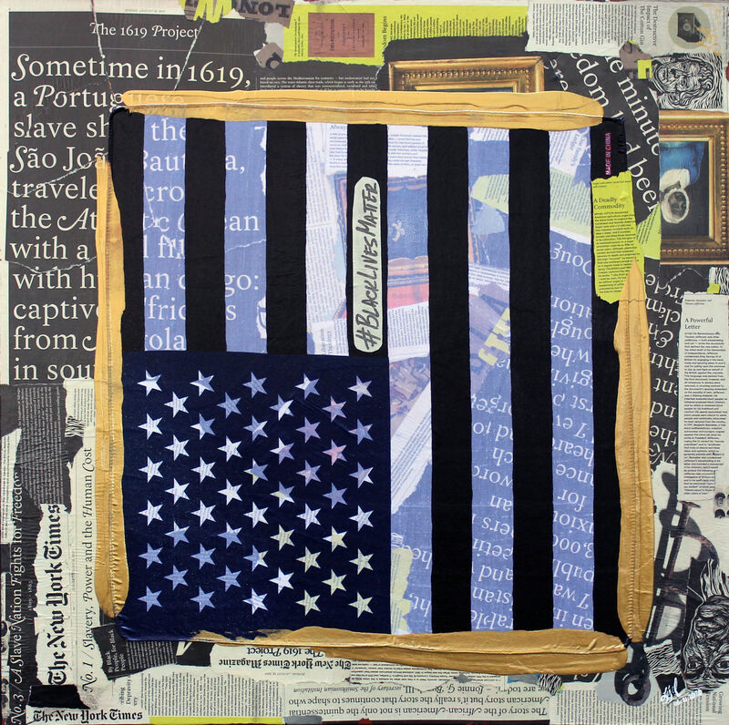 """Ligel Lambert, 'Work # 39 - """"Golden Borders, the 1619 Project."""" ', 2020, Painting, Acrylic, fabric and newspaper on canvas, The Art of Ligel, LLC"""